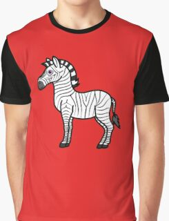 White Zebra with Black Stripes Graphic T-Shirt