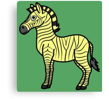 Yellow Zebra with Black Stripes Canvas Print