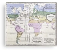 Vintage World Climate Map (1823) Metal Print