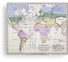 Vintage World Climate Map (1823) Canvas Print