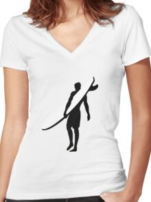 Surfer Women's Fitted V-Neck T-Shirt