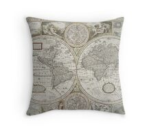 Vintage Map of The World (1651) Throw Pillow