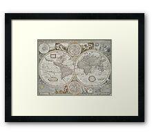Vintage Map of The World (1651) Framed Print