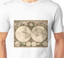 Vintage Map of The World (1660) Unisex T-Shirt