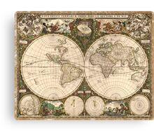 Vintage Map of The World (1660) Canvas Print
