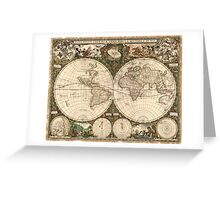 Vintage Map of The World (1660) Greeting Card