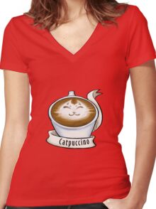 Cat'puccino Women's Fitted V-Neck T-Shirt