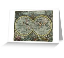Vintage Map of The World (1682) Greeting Card