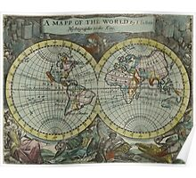 Vintage Map of The World (1682) Poster