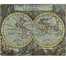 Vintage Map of The World (1682) Photographic Print