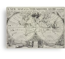 Vintage Map of The World (1700) 2 Canvas Print