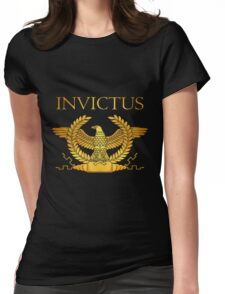 Roman Invictus Eagle, Golden on Black Womens Fitted T-Shirt