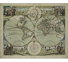 Vintage Map of The World (1702) Photographic Print