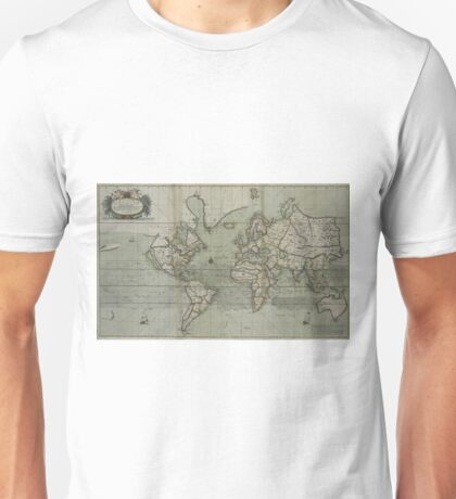 Vintage Map of The World (1702) 2 Unisex T-Shirt