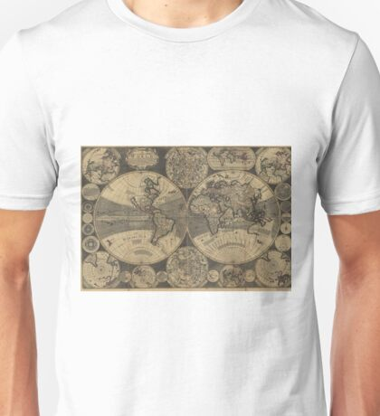 Vintage Map of The World (1702) 3 Unisex T-Shirt