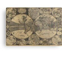 Vintage Map of The World (1702) 3 Metal Print