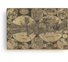 Vintage Map of The World (1702) 3 Canvas Print