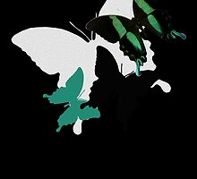 Butterflies, green, white, black by Leonie Mac Lean