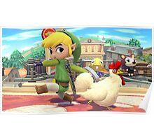 Super Smash Bros. Toon Link and Cucco Poster