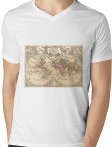 Vintage Map of The World (1775) 3 Mens V-Neck T-Shirt