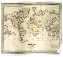 Vintage Map of The World (1840) Poster