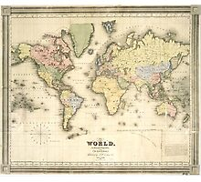 Vintage Map of The World (1840) Photographic Print