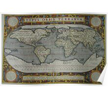 Vintage Map of The World (1595) 2 Poster