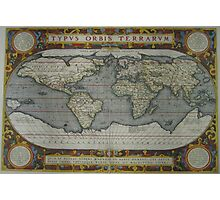 Vintage Map of The World (1595) 2 Photographic Print