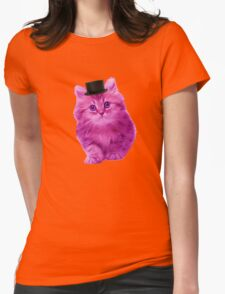 Top hat cat Womens Fitted T-Shirt