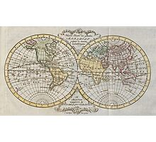 Vintage Map of The World (1795) Photographic Print