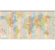 World Time Zone Map Photographic Print