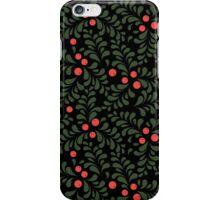 Floral pattern on black background iPhone Case/Skin