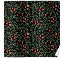 Floral pattern on black background Poster