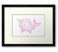Cute Pink Narwhal  Framed Print