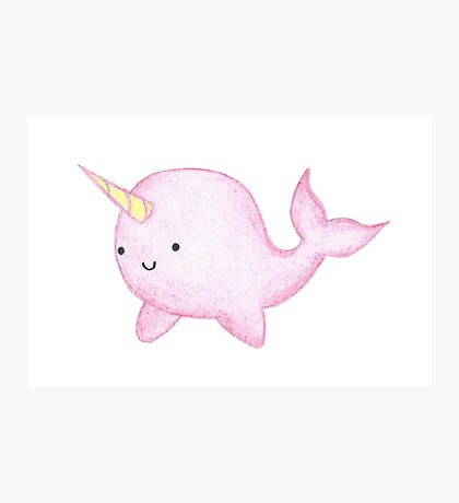 Cute Pink Narwhal  Photographic Print