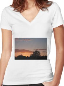 April Sunset and Clouds Women's Fitted V-Neck T-Shirt