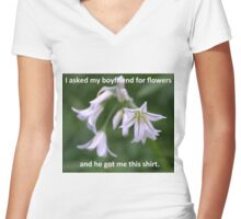 Valentines Day Flowers Women's Fitted V-Neck T-Shirt