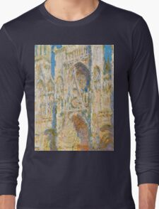 1894-Claude Monet-Rouen Cathedral, West Façade, Sunlight-65 x 100 Long Sleeve T-Shirt