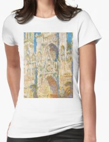 1894-Claude Monet-Rouen Cathedral, West Façade, Sunlight-65 x 100 Womens Fitted T-Shirt