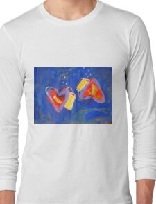 2 Hearts Diving as 1 Long Sleeve T-Shirt