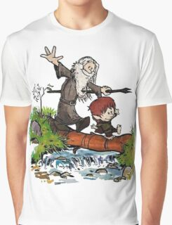 Bilbo and Gandalf Inspired Calvin And Hobbes Graphic T-Shirt