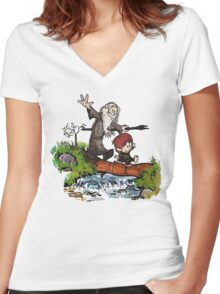 Bilbo and Gandalf Inspired Calvin And Hobbes Women's Fitted V-Neck T-Shirt