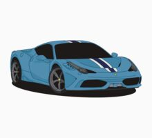 458 Speciale Blue Supercar One Piece - Long Sleeve