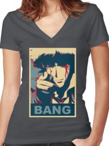 Cowboy Bebop - Bang - Spike Spiegel Women's Fitted V-Neck T-Shirt