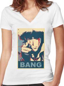 Cowboy Bebop - Bang - Spike Spiegel Women's Fitted V-Neck T-Shirt