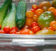 Tomato and Cucumber Harvest in Kitchen Sink Sticker