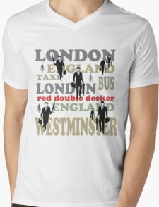 Stylish London lettering design with business executives Mens V-Neck T-Shirt