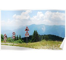 Road Signs at Top of Mountain Poster