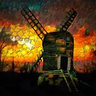 The Postmill (Black Mill) Mousehold Heath, Norfolk by Dennis Melling