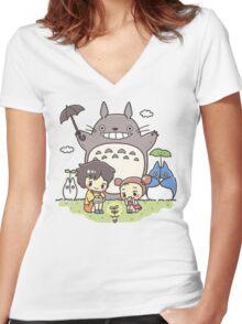 My Neighbor Totoro studio Ghibli Women's Fitted V-Neck T-Shirt